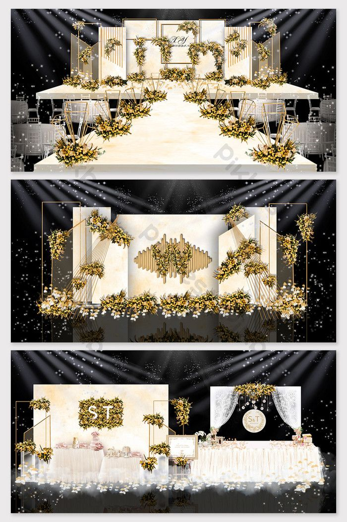 Champagne iron theme wedding effect picture | Decors & 3D Models PSD Free Download - Pikbest