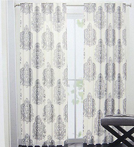 Nicole Miller Medallion Pair Of Curtains In Grey Cream Ash Gray