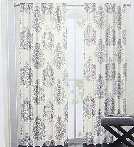 Nicole Miller Medallion Pair Of Curtains In Grey Cream Ash Gray