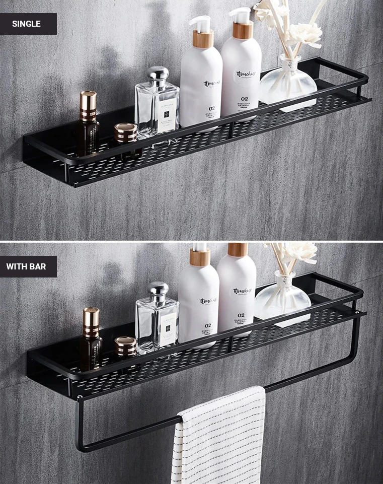 Photo of Aluminum Black Bathroom Storage Shelf Shower Rack Black Modern Fixtures And Fittings Bathroom Accessories Storage Rack