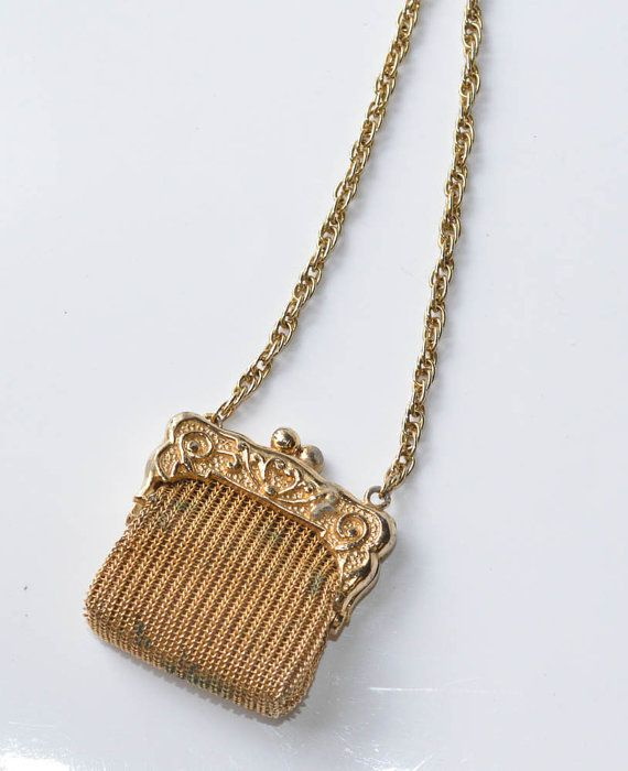 Gold Mesh Purse Necklace Vintage Tiny Purse by Violasvintages
