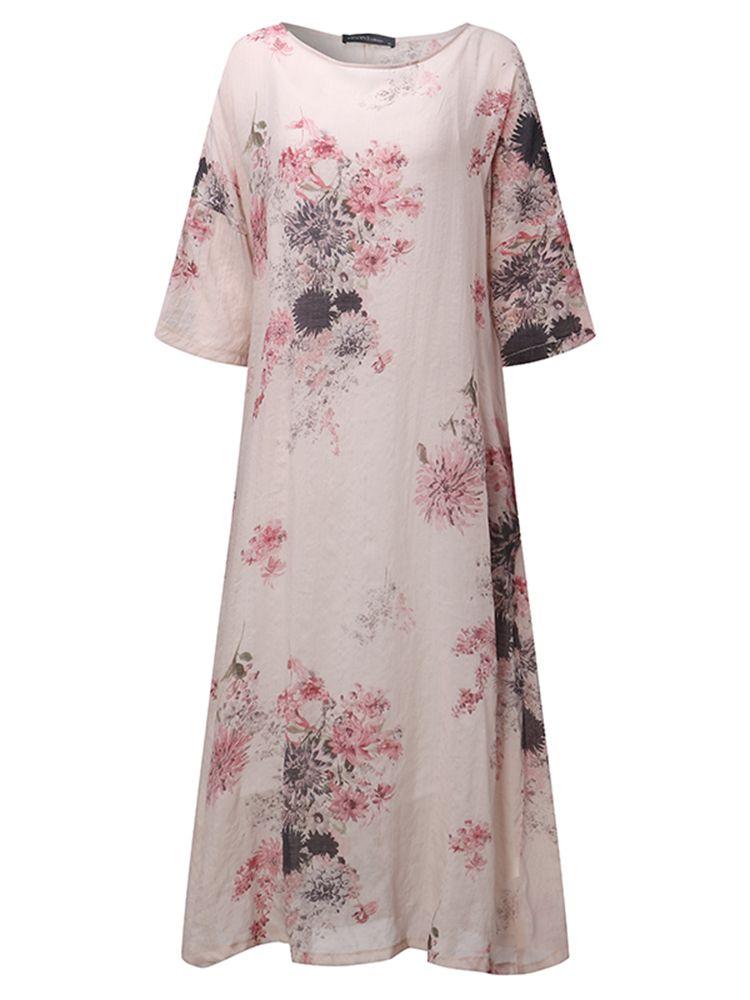 Elegant Women O-Neck 3/4 Sleeve Floral Printed Swing Dress Two Piece
