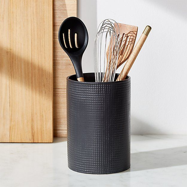 Matte Black Utensil Holder Reviews Crate And Barrel Ceramic Utensil Holder Black Kitchen Accessories Matte Black Kitchen
