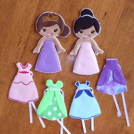 In The Hoop Felt Princess Dress Up Doll Embroidery Design