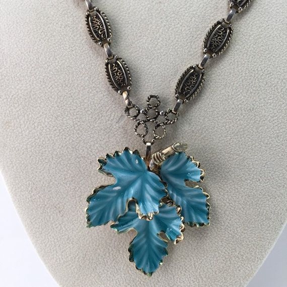 Necklace Turquoise colored Enamel Leaf Vintage Jewelry by ravished
