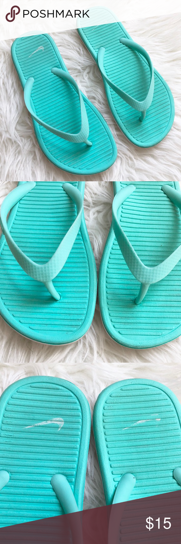 0ebb6b461db Nike Hyper Turquoise Mint Solarsoft Thong Flipflop Great used condition  only worn a handful of times. Super comfortable. Nike Shoes Sandals