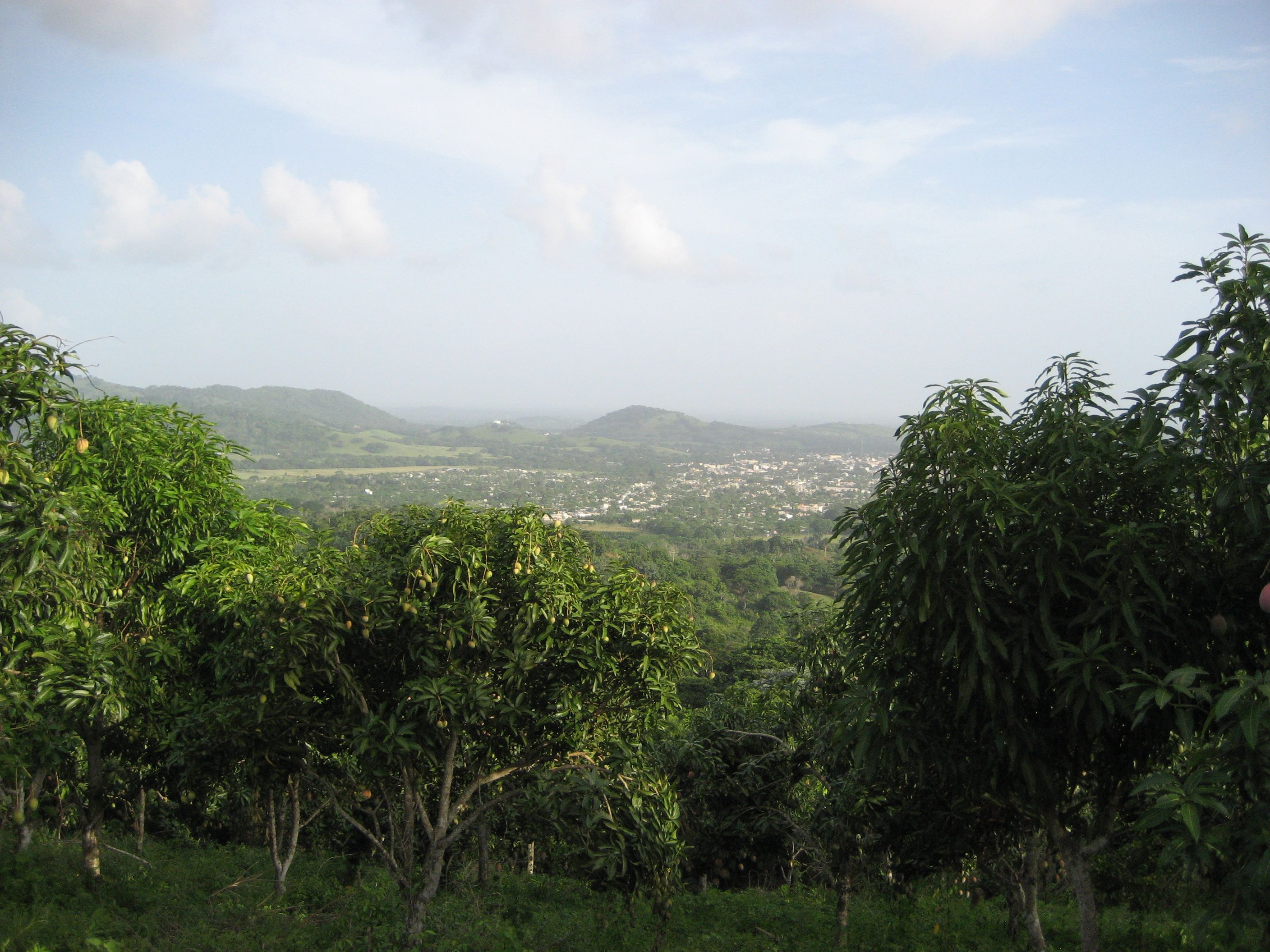 After riding to the top on horse back here is the view overlooking the city of Hato Mayor