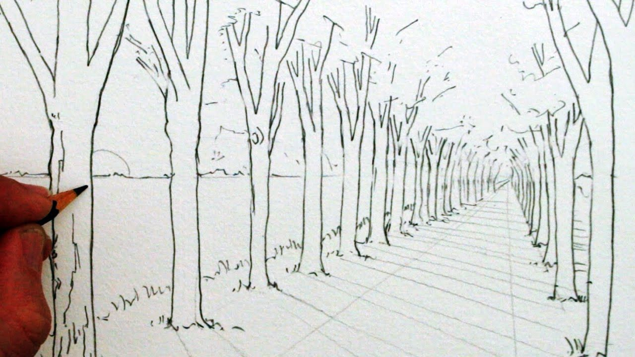 how to draw trees in two point perspective