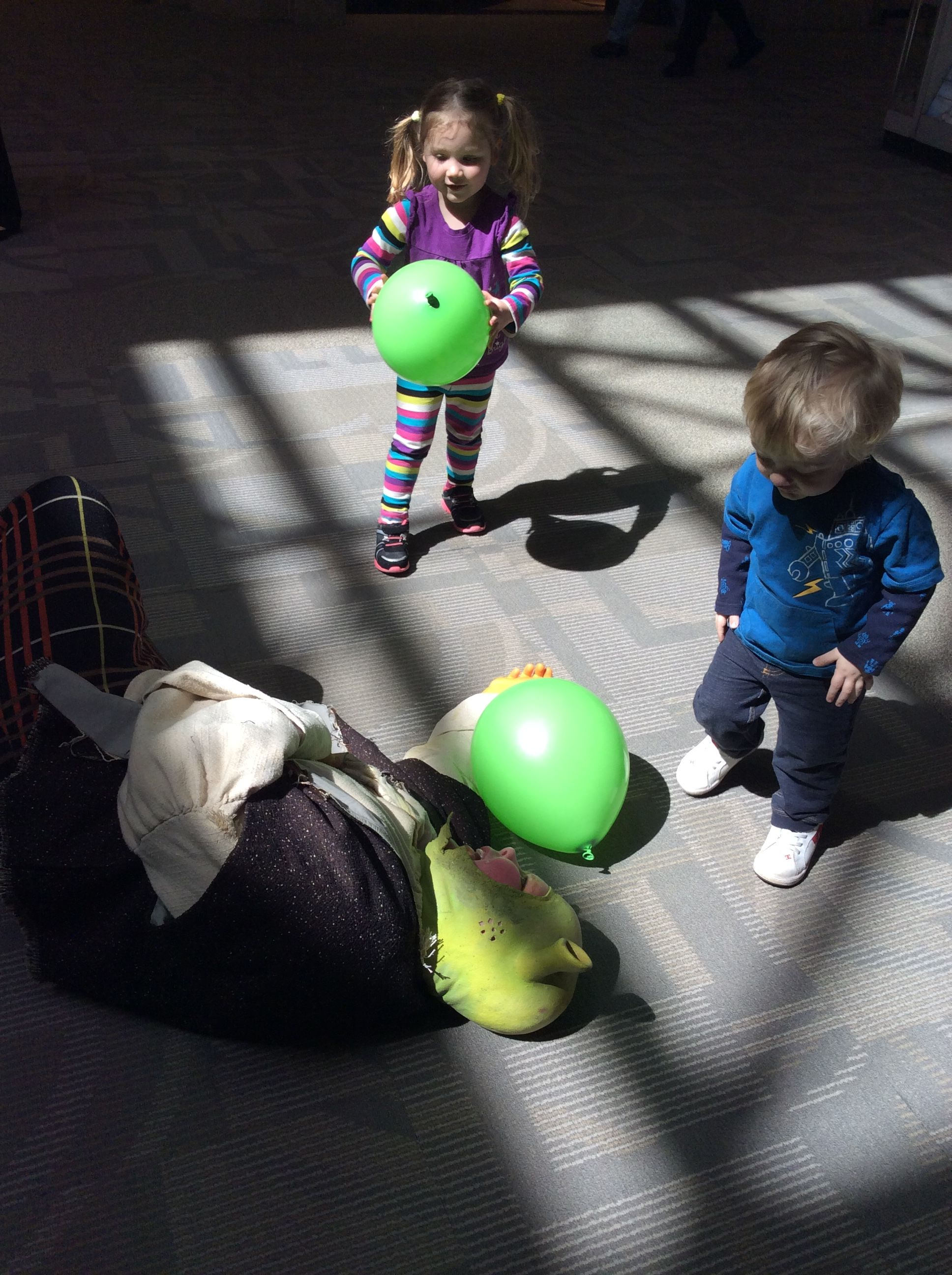 Shrek from the Caryl Crane Youth Theatre had a GREAT time playing with the toddlers!