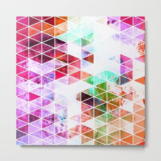 Pink Geometric Grunge Metal Print by Samantha Lynn. Worldwide shipping available at Society6.com. Just one of millions of high quality products available.