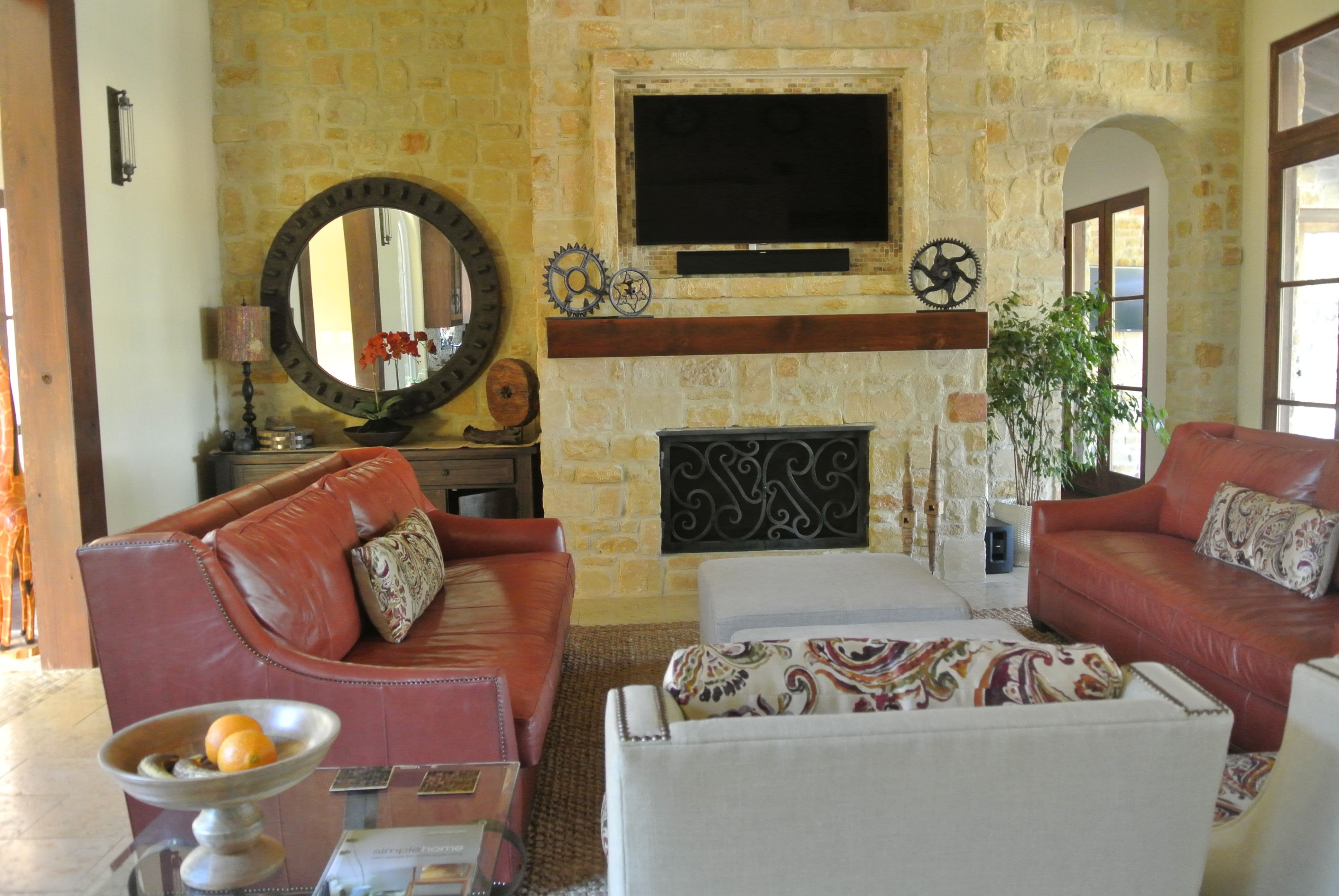 Living room with new fireplace screen, custom designed