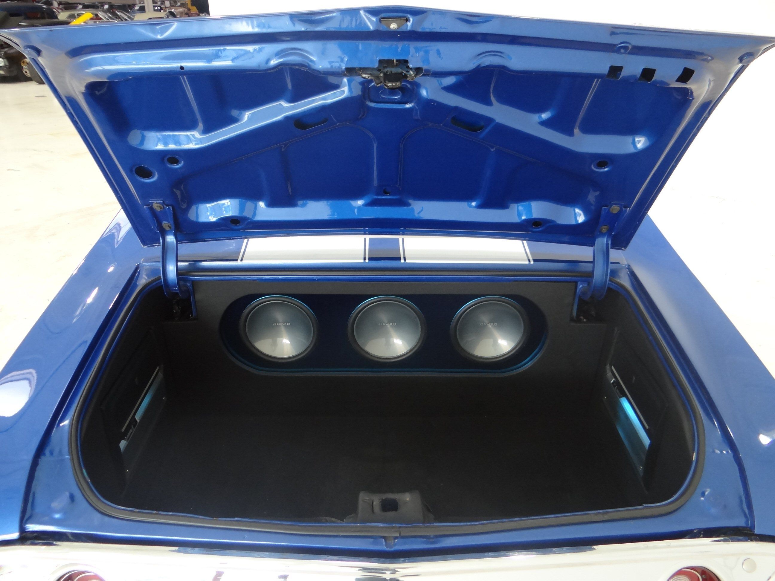 1971 chevrolet chevelle ss becausess clone custom car audio trunk fiberglass stereo install subwoofers amps