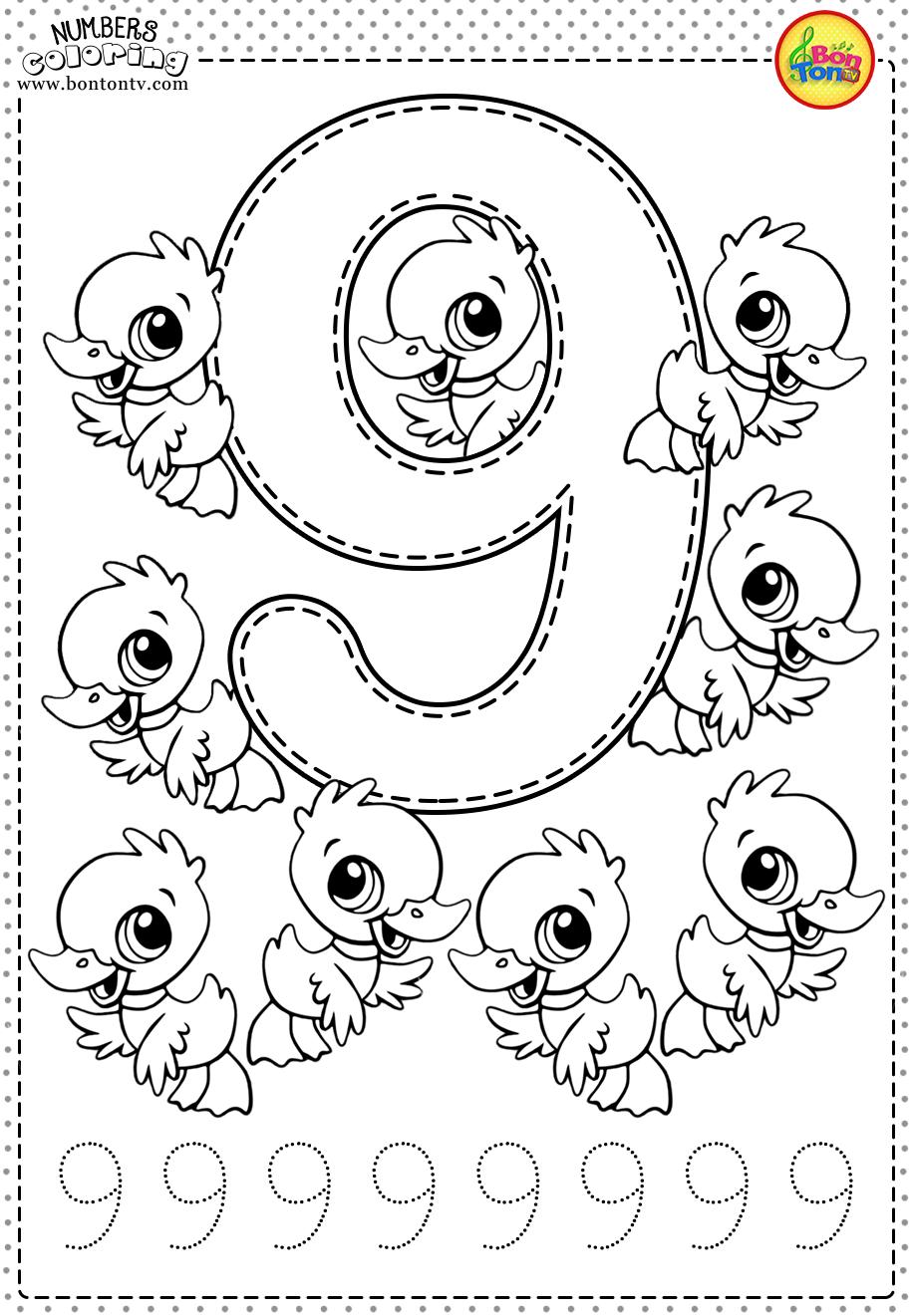 Number 9 Preschool Printables Free Worksheets And Coloring Pages For Kids Learning Numbers Counting 1 10 Broj 9 Bojanke Za Djecu Numeros Preescolar Hojas De Trabajo Preescolar Actividades De Matematicas Preescolares