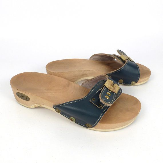 2fb68b049a0b Dr Scholls Sandals Vintage 1980s Blue Leather Wood Exercise Shoes ...