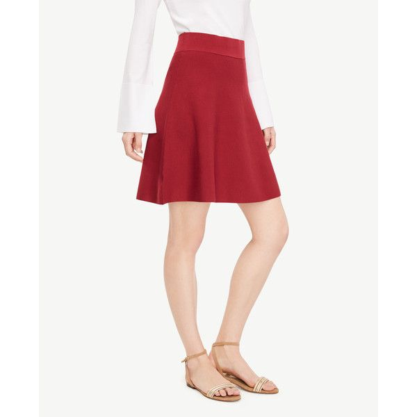 Ann Taylor Sweater Circle Skirt (1,665 MXN) ❤ liked on Polyvore featuring skirts, rumba red, red knee length skirt, white skirt, red skater skirt, skater skirt and white circle skirt