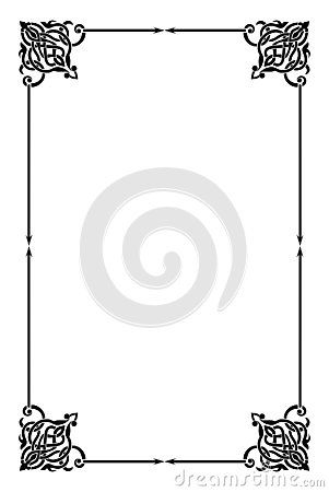 Blank template of menu card background with frame. A cute