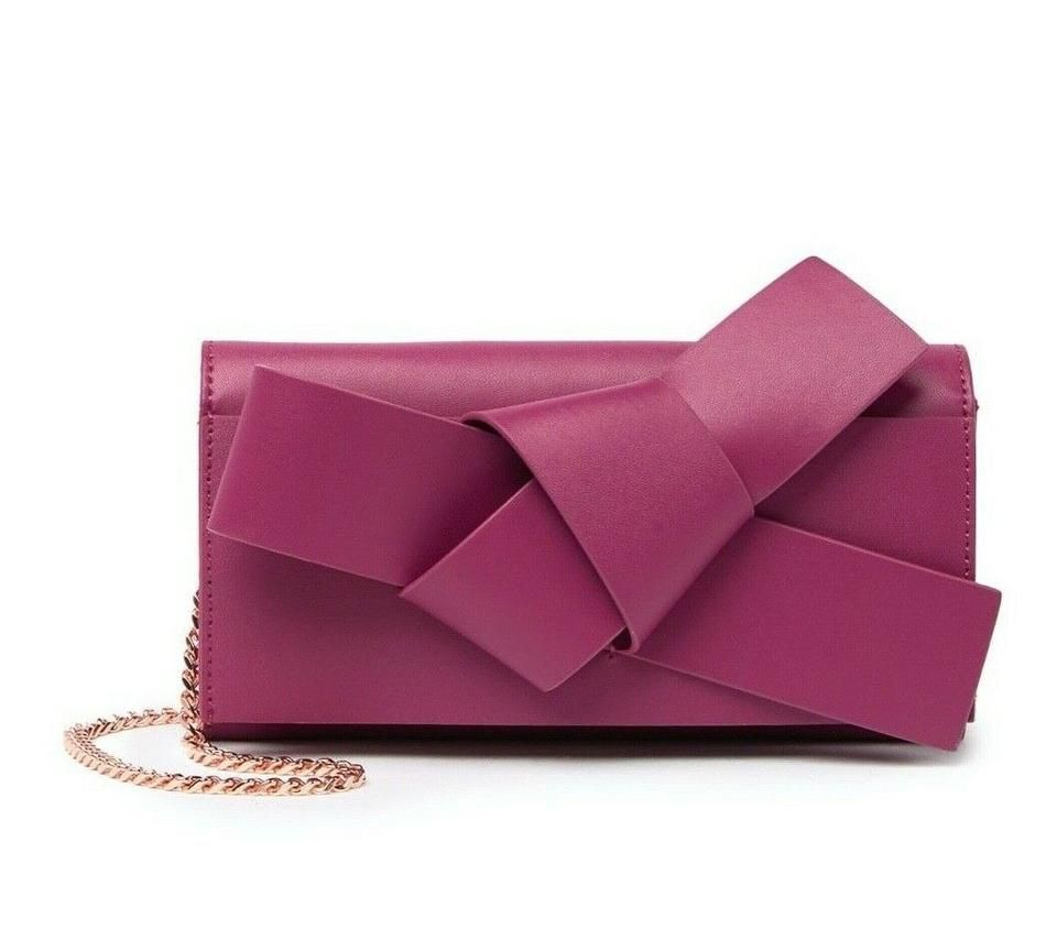 Photo of Ted Baker | Wallet On Chain Knot Detail Pink Leather Shoulder Bag