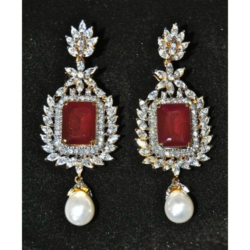 22ct Indian Gold Ruby Necklace Set 544 40: Earing And Nose Rings