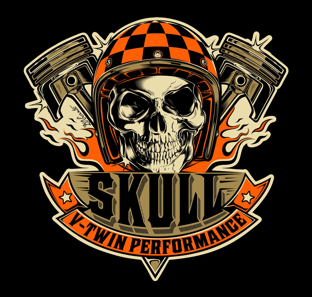 Logo design SKULL VTWIN PERFORMANCE Brazil...2016