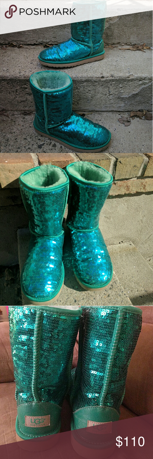 9bb65393395 Green sparkle UGGs, like new! Adorable green sequence sparkly ...