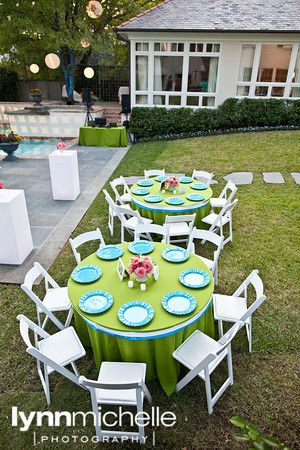 modern outdoor birthday party lime green and blue color scheme