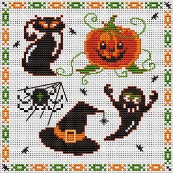 Cantinho da Jana: Gráficos de ponto cruz de halloween | bordados ...