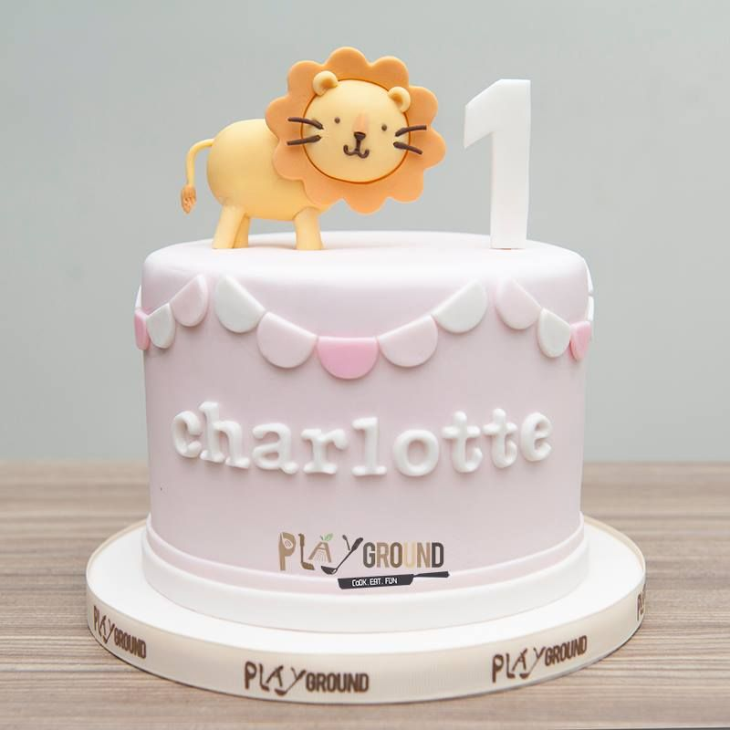 Pastel Pink Themed with Cute Lion 1st Baby Girl Birthday Cake