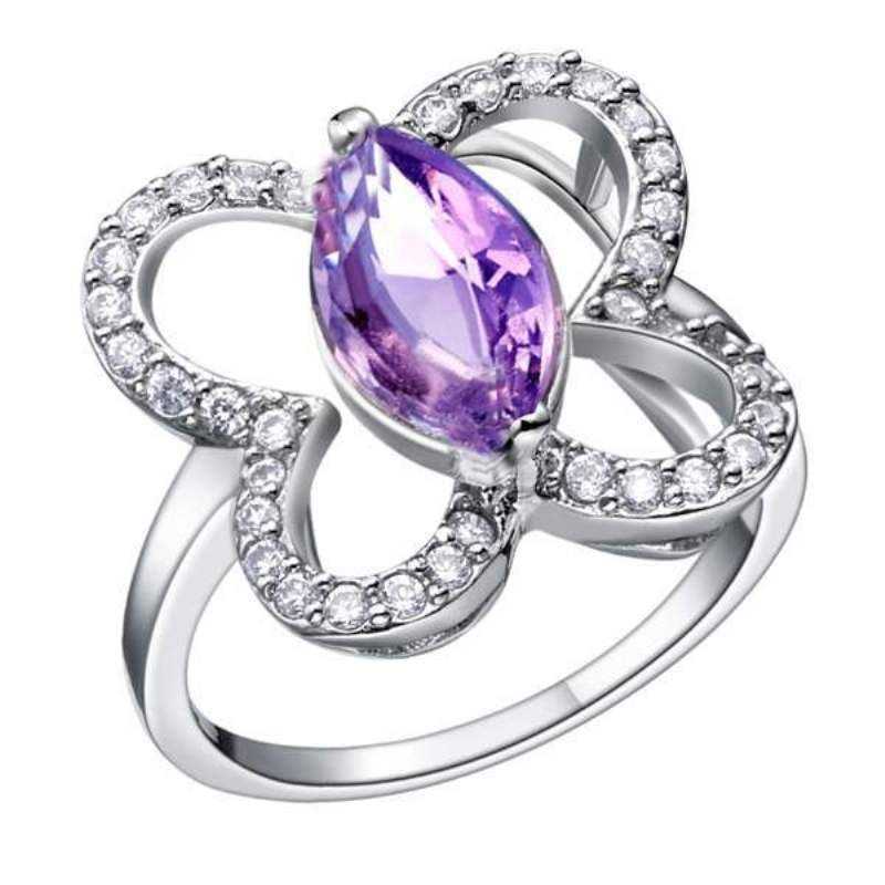 Fashion purple stone butterfly rings for women cz jewerly