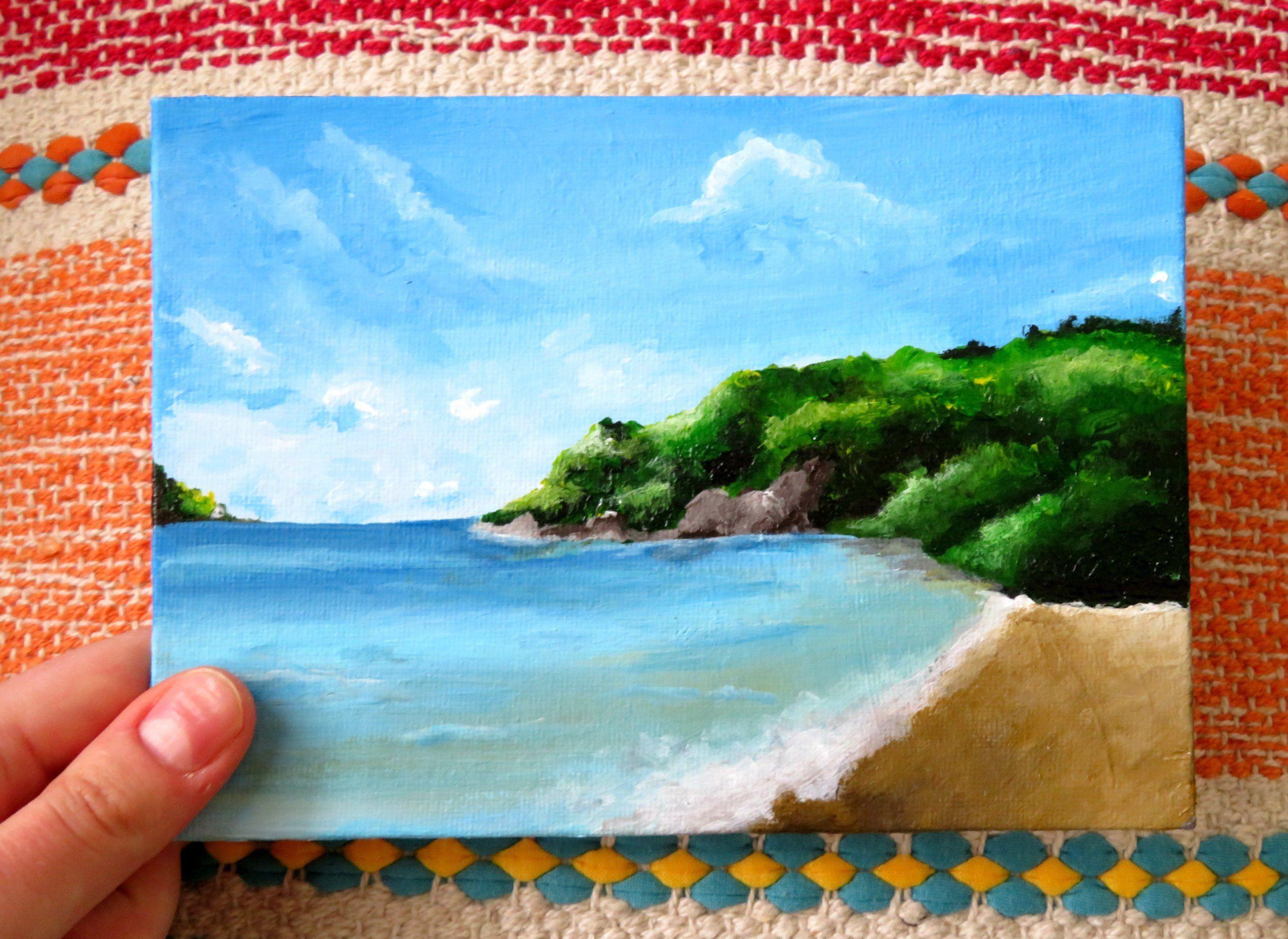 Beach Painting Canvas Board Tropical Landscape Art Original