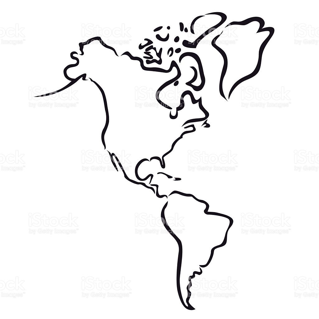 Black Abstract Outline Of North And South America Map