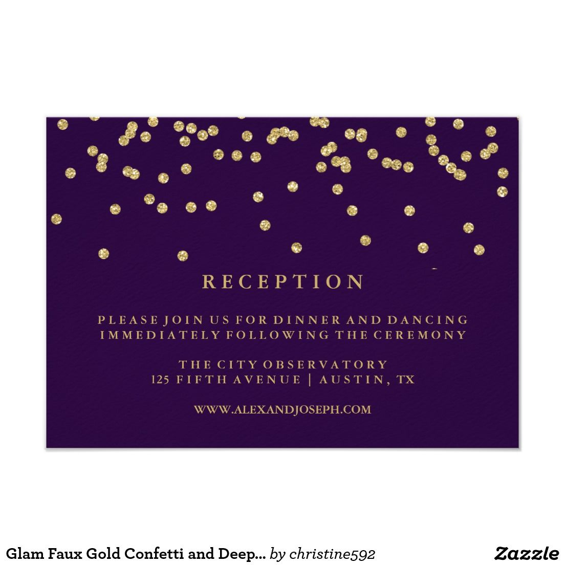 Glam faux gold confetti and deep purple reception card wedding