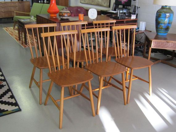 set of six midcentury modern danish spindle back dining chairs dining table