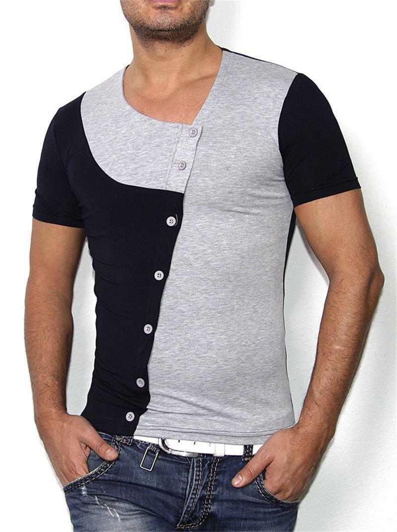 2a6af8b153e Men s Fashion Patchwork Sport Casual Short-Sleeve Top M-2XL 4 Colors ...