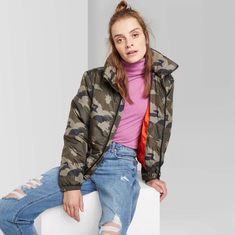 Women S Camo Print Zip Up Puffer Jacket Wild Fable Olive Xs Target Target Clothes Womens Camo Camo Print [ 1000 x 1000 Pixel ]