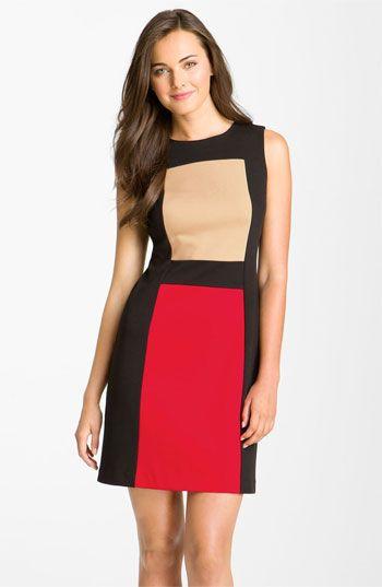 34de22fbf364 Calvin Klein Sleeveless Colorblock Ponte Sheath Dress