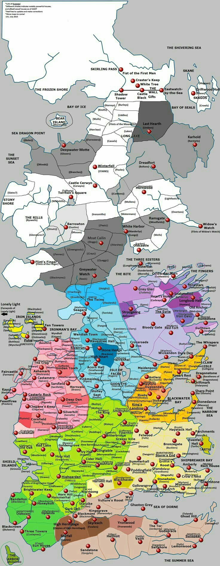 Westeros, Essos and The Known World of Game of Thrones, Google...