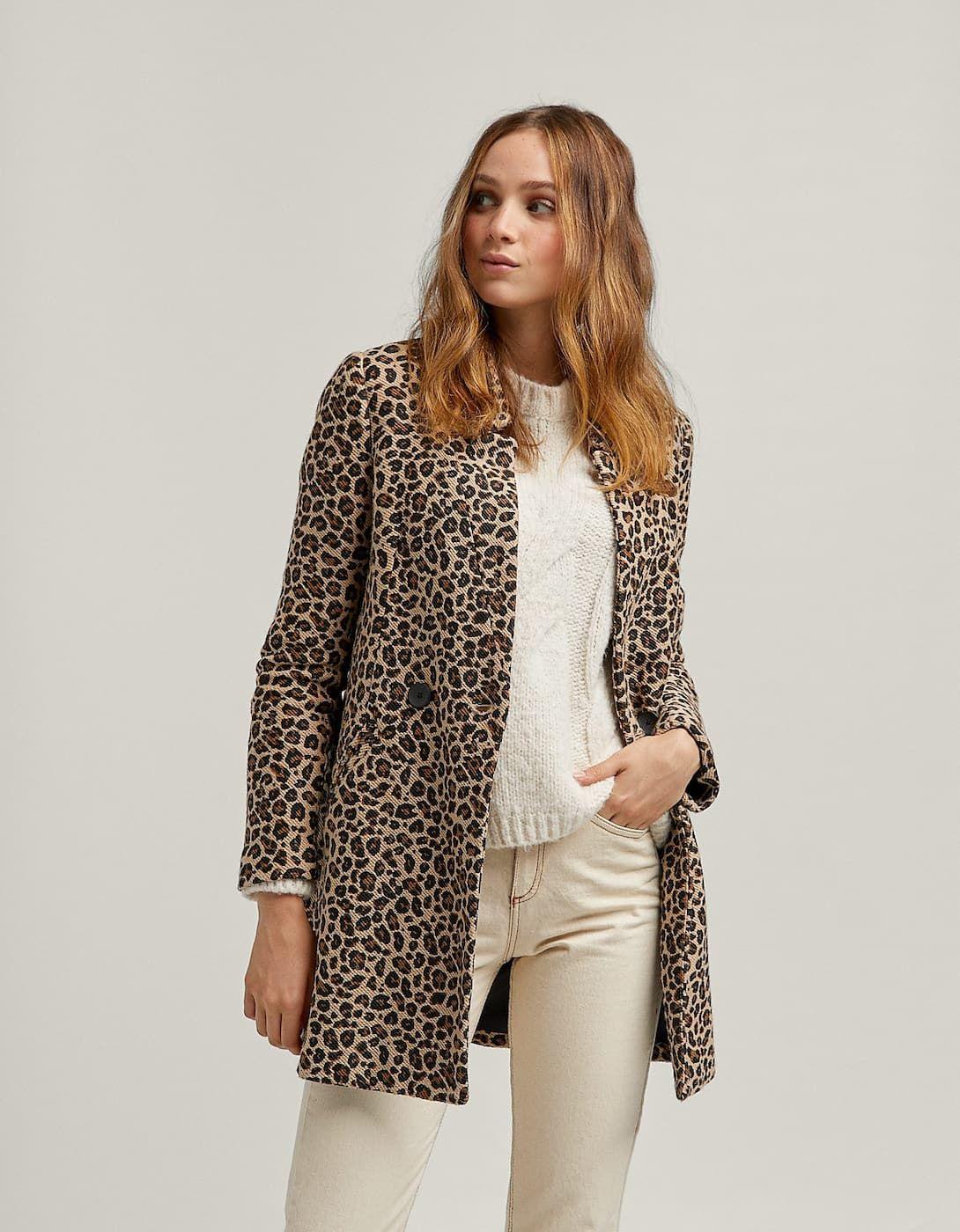 c3bcf6622b Abrigo leopardo cruzado - Abrigos de mujer