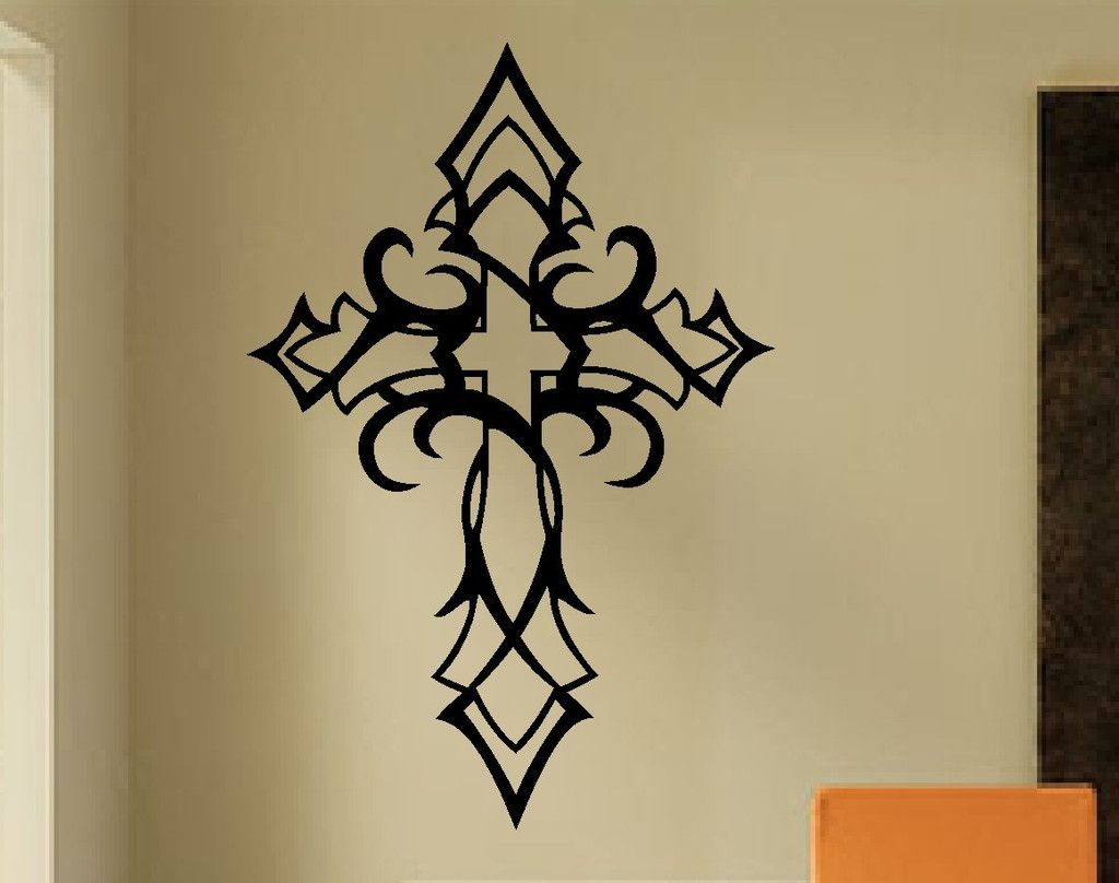 Tribal Cross Wall Decal Religious Decals Christian border=