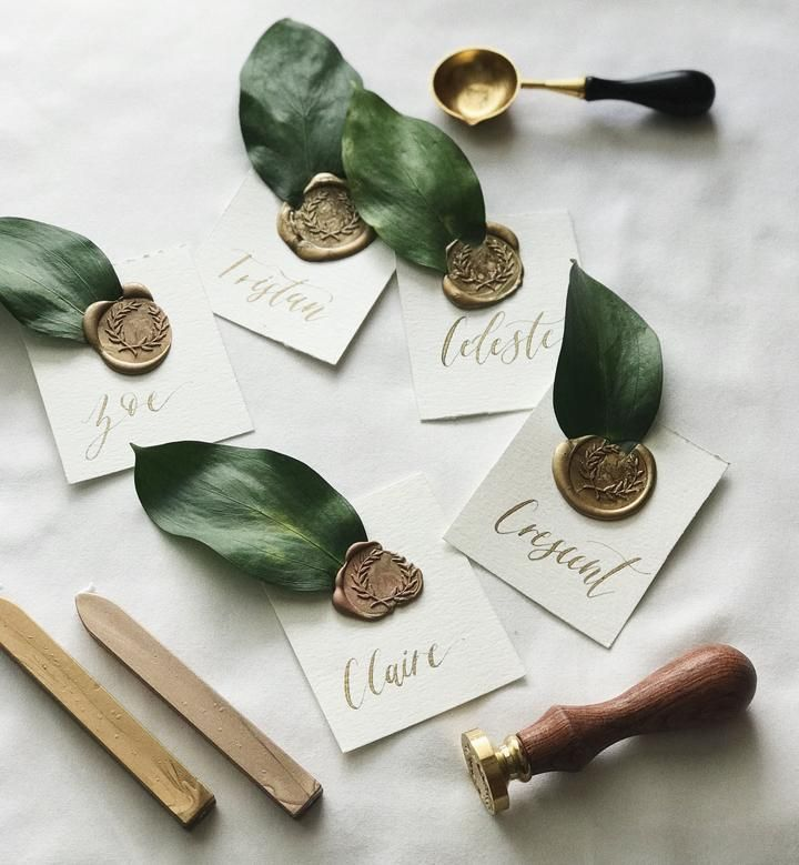 Gold + Greenery Wax Sealed Escort Karten