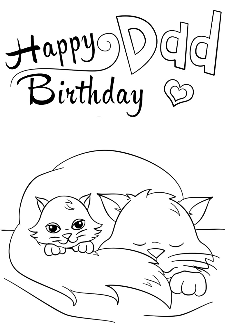 Happy Birthday Dad Coloring Pages Printable | Happy ...
