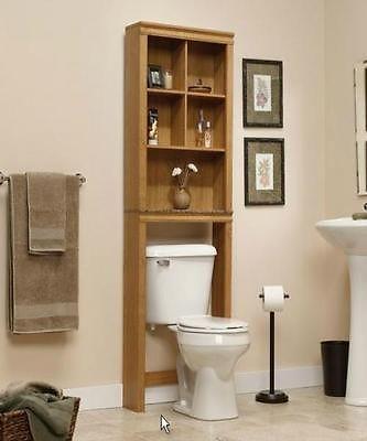 Bath Storage Space Saver Over Toilet Caddy Shelf Oak Finish Etagere Door Cabinet Ebay Oak Bathroom Cabinets Shelves Over Toilet Bathroom Etagere