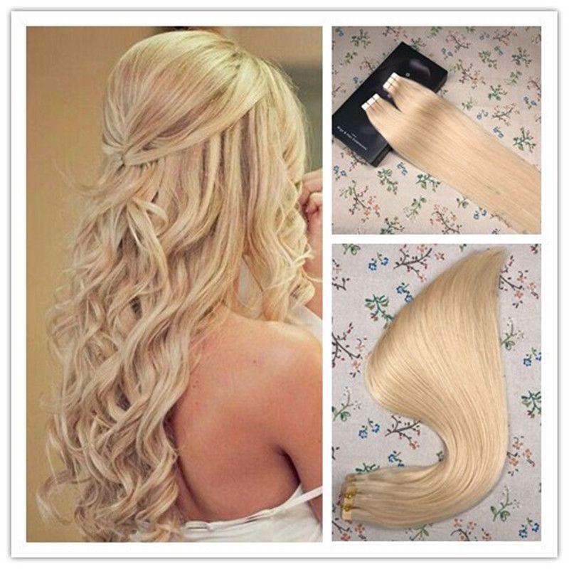 Tape In Extensions Platinum Blonde Color 60 100 Virgin Human Hair