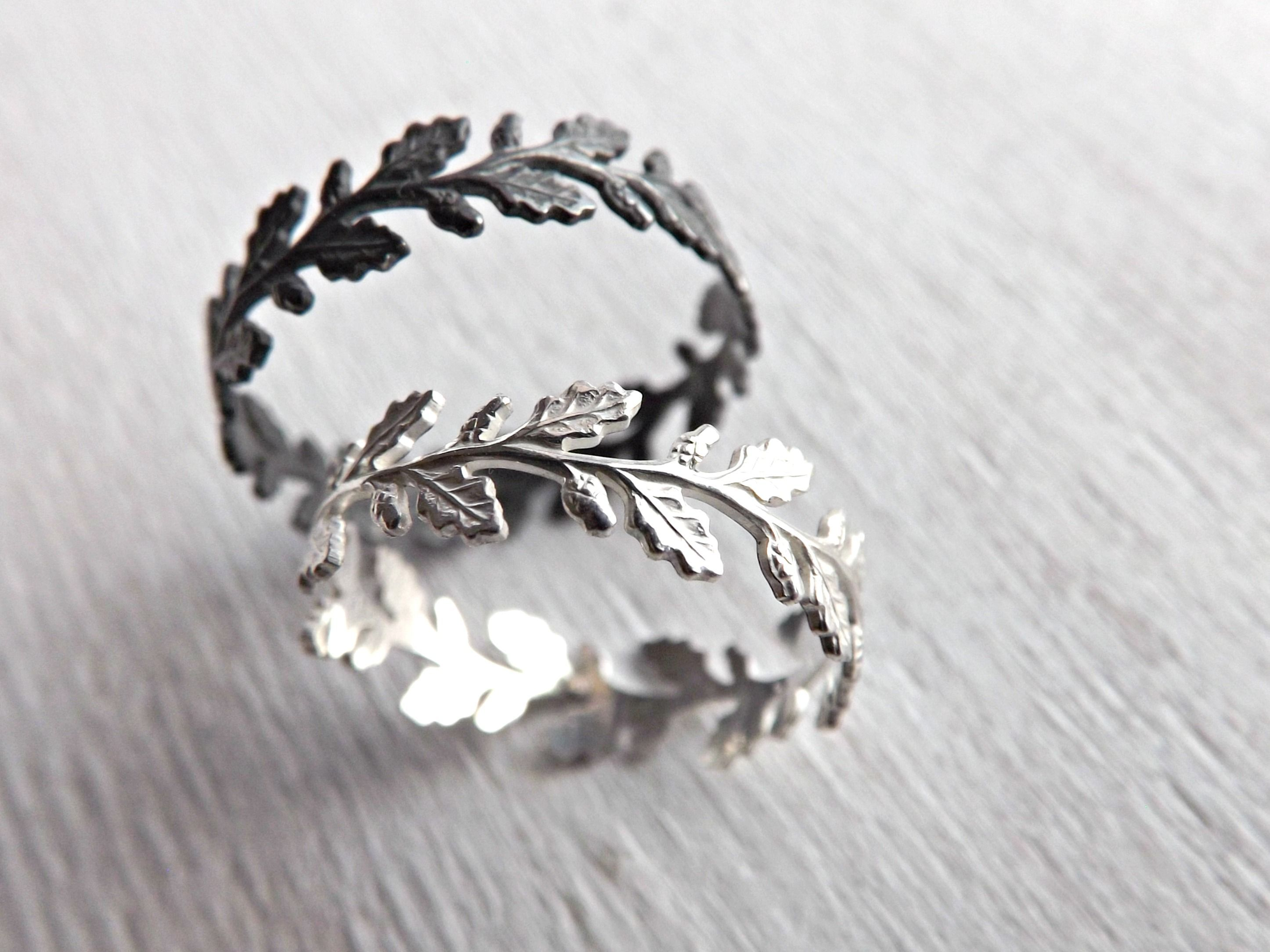 handmade a or lace rings buy gift for crazyassjewelry custom made engagemen pattern ring unique oak leaf by silver engagement sturdy