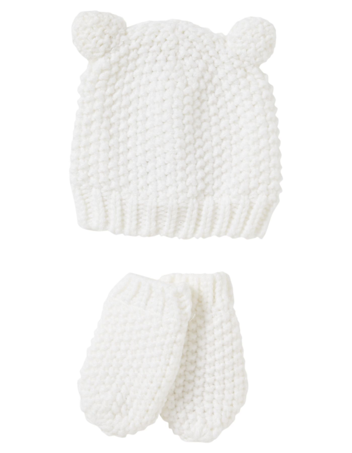 Knitted Baby Hat And Mitts