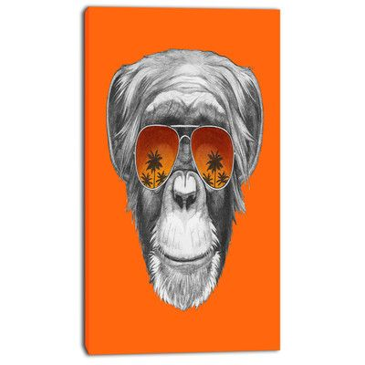 """DesignArt 'Monkey with Mirror Sunglasses' Graphic Art on Wrapped Canvas Size: 60"""" H x 28"""" W x 1.5"""" D"""