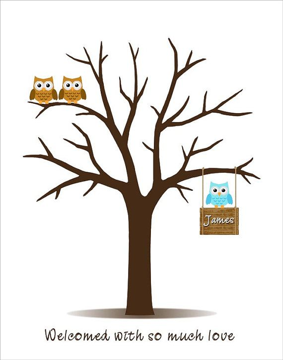 Baby Shower Tree Images ~ Baby shower guest book fingerprint tree with owl family