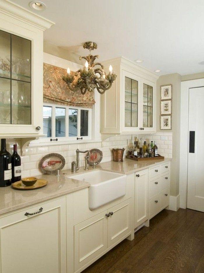 Küche Streichen Ideen Creme Farbideen Bodenbelag Holzoptik