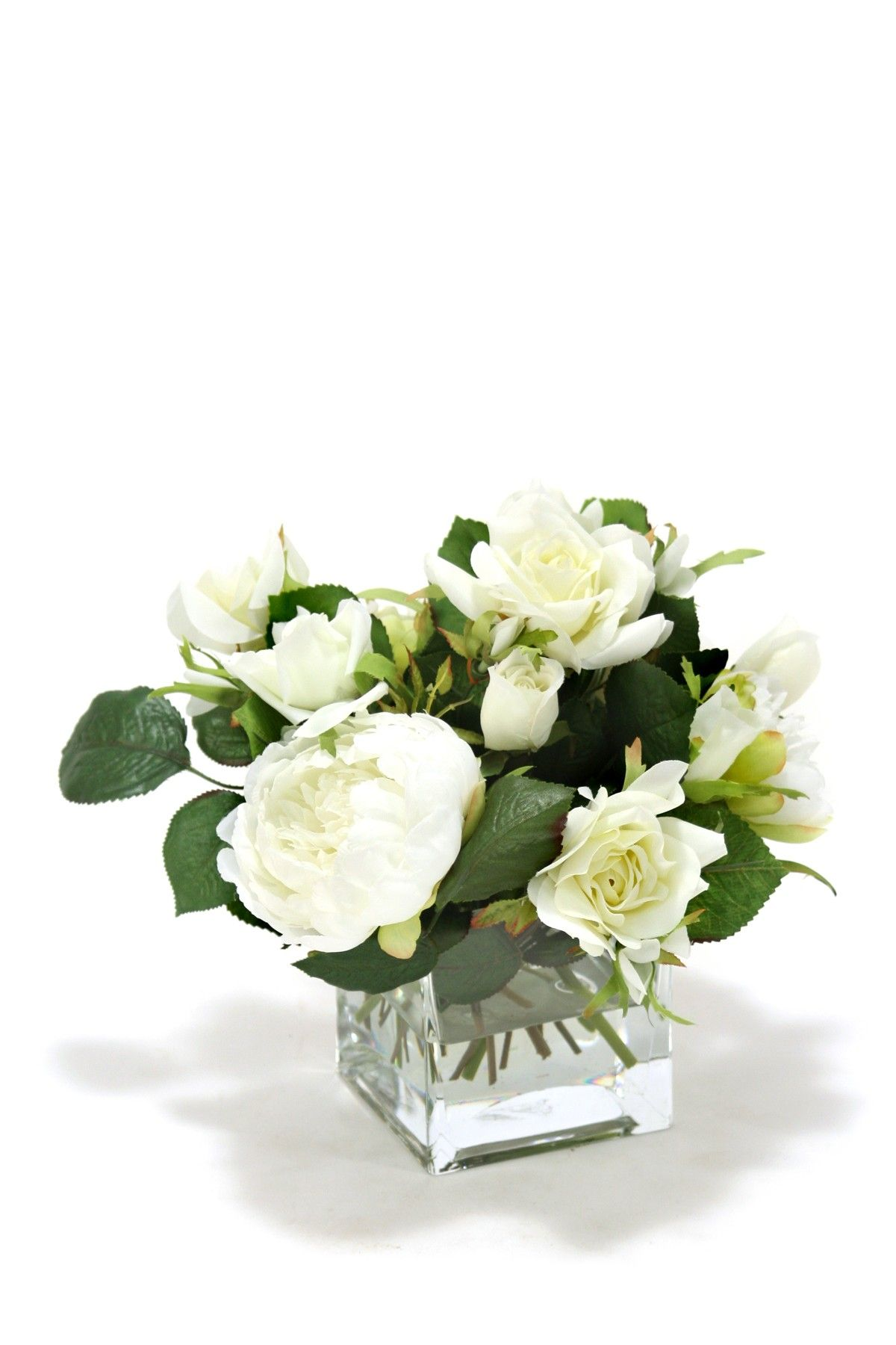 White roses and peonies in clear square vase on hautelook pretty white roses and peonies in clear square vase on hautelook reviewsmspy