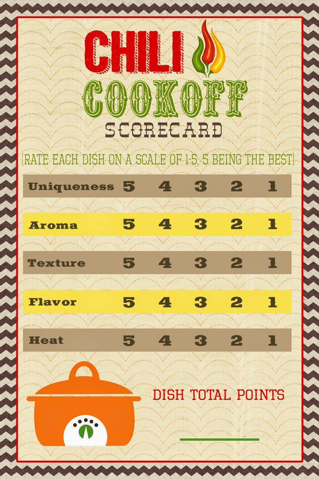 A pocket full of lds prints chili cook off scorecard for Honorable mention certificate template