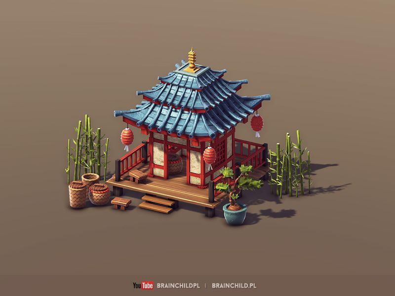 Cartoon 3d Asian Building Low Poly Game Ready